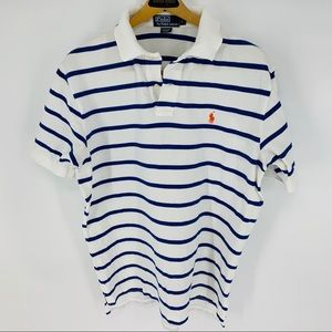 Polo by Ralph Lauren blue & white pique polo shirt
